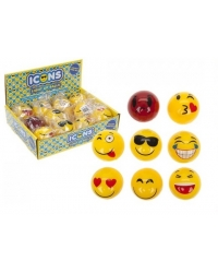 Image of 12 x Light Up Emoji Rubber Balls 5.5cm