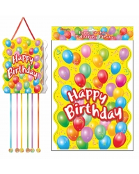 Image of 12 x Happy Birthday Pull String Pinatas