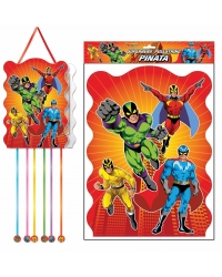 Image of 12 x Super Hero Pull String Pinatas