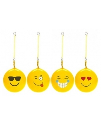 Image of 20 x Inflatable Emoji Balls With Spiral Keychain