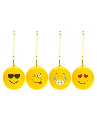 20 x Inflatable Emoji Balls With Spiral Keychain