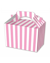 Image of 50 x Pink Stripe Food Boxes