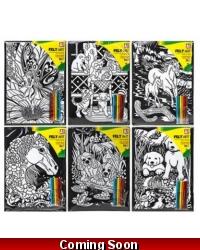 Image of 12 x Velvet Art Colouring Pictures & Pens