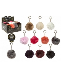 Image of 24 x High Quality Faux Fur Pom Pom Keychains