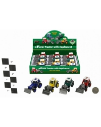 Image of 12 x Die Cast Pull Back Tractors
