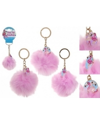 Image of 24 x Faux Fur Flamingo Pom Pom Key Chains