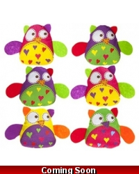 Image of 24 x Plush Candy Coloured Cute Owls 12cm