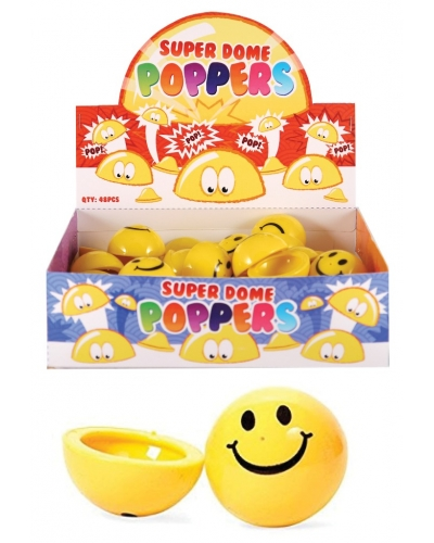 48 x Jumping Smiley Face Dome Poppers