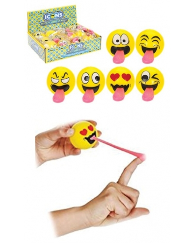 24 x Flying Light Up Emoji Tongue Balls