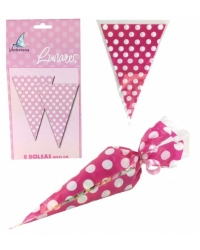 Image of 12 x Pk of 6 Pink Polka Dot Sweet Cones
