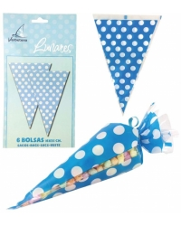 Image of 12 x Pk of 6 Blue Polka Dot Sweet Cones