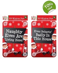 Image of 24 x Christmas Elf Window Signs