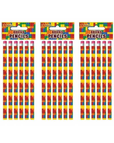 24 x Building Bricks Pencils 6pk