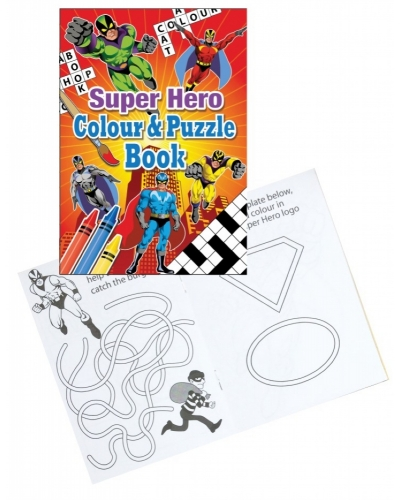 24 x Super Hero A6 Colour & Puzzle Books