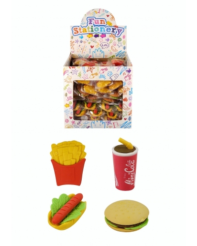 108 x Fast Food Erasers