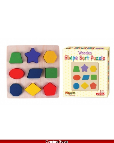 Wrapped Grotto Toys - Wooden Shape Sorting Puzzle x 12