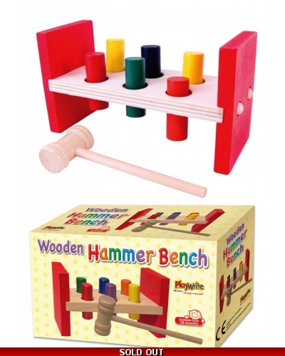 Wrapped Grotto Toys - Wooden Hammer Bench x 6