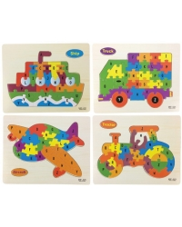 Image of Wrapped Grotto Toys - Wooden Vehicle Jigsaw Puzzles x 24
