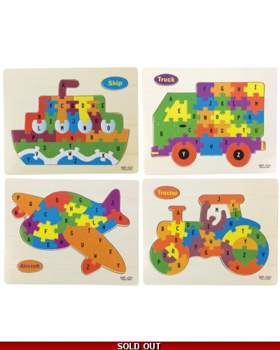 Wrapped Grotto Toys - Wooden Vehicle Jigsaw Puzzles x 24