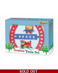 Image of Wrapped Grotto Toys - Clockwork Christmas Train Set x12
