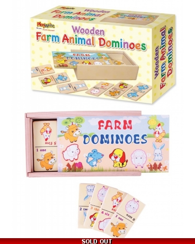 Wrapped Grotto Toys - Wooden Farm Animal Dominoes x12