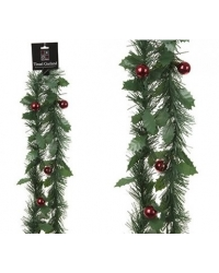 Image of 12 x Holly Garland with Baubles 1.8M