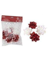 Image of 5 x Metallic Red/White Star Bows - 12 Pack