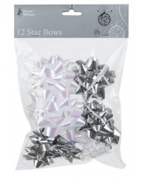 Image of 5 x Metallic Silver/White Star Bows - 12 Pack