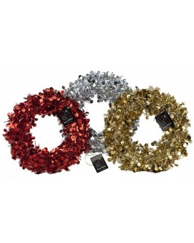 6 x Metallic Tinsel Wreaths 24cm