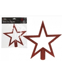 Image of 12 x Glitter Tree Top Stars - Red