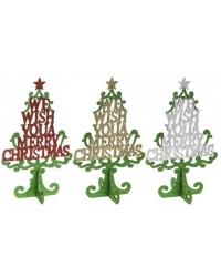 Image of 12 x Standing Glitter Christmas Trees 25cm