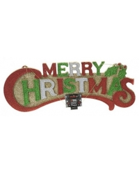Image of 12 x Merry Christmas Hanging Glitter Plaques 49cm