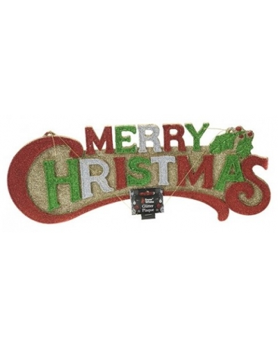 12 x Merry Christmas Hanging Glitter Plaques 49cm