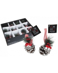 Image of 12 x Snowy Pine Cone Christmas Decorations