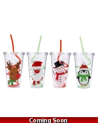 Image of 24 x Christmas Drinking Cups & Swirly Straws