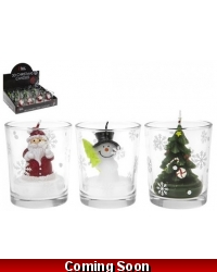 Image of 12 x Christmas 3D Candles In Glass Jar