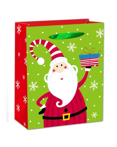12 x Deluxe Glitter Santa XL Gift Bags