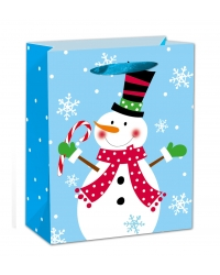 Image of 12 x Deluxe Large Glitter Snowman Gift Bags
