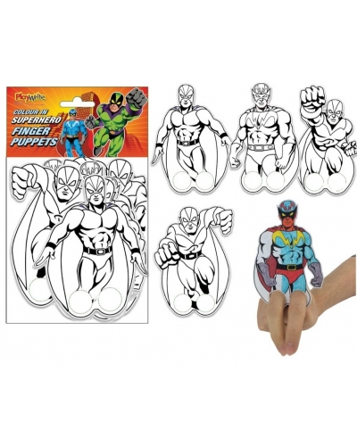 12 x Colour In Super Hero Finger Puppets