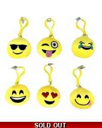 Image of 12 x Plush Emoji Face Keyclips 6cm