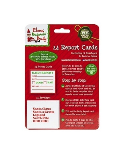24 x Christmas Elf Daily Report Cards 24 pk