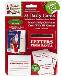 Image of 24 x Daily Christmas Cards From Santa W/Letter Box 24pk