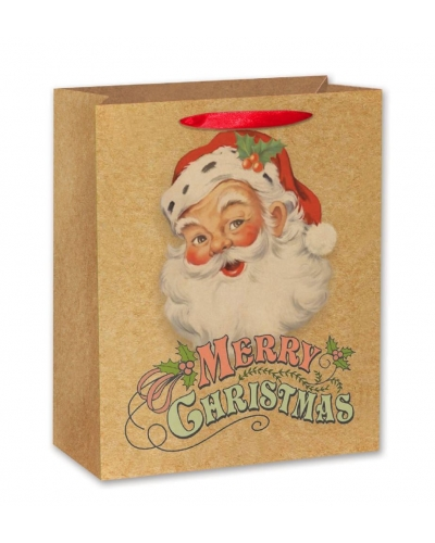 12 x Vintage Craft Paper Christmas Gift Bags