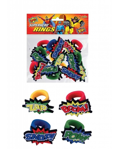 12 x Silicone Super Hero Rings