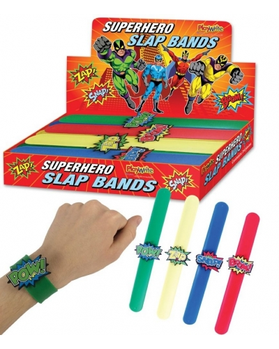 12 x Silicone Super Hero Slap Bands