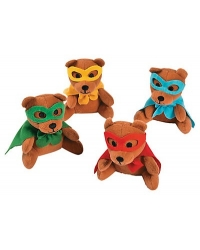 Image of 12 x Plush Super Hero Teddy Bears 13cm