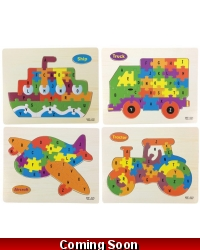 Image of 24 x Wooden Vehicle Jigsaw Puzzles