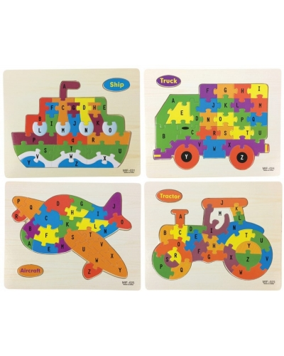 24 x Wooden Vehicle Jigsaw Puzzles