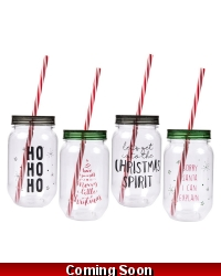 Image of 24 x Christmas Drinking Jars & Straws