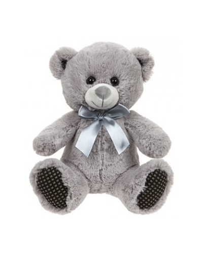 6 x Plush Grey Bear with Silver Bow 10""